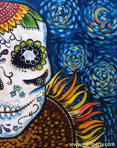 How to Paint Van Gogh Starry Night Sunflower Sugar Skull by The art sherpa for Hart Party https://www.youtube.com/user/HoneyBmama