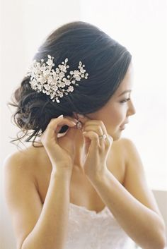 elegant and modern wedding updo hairstyles with bridal headpieces