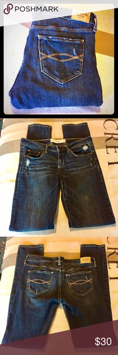 A&F skinny jeans 2R Abercrombie & Fitch skinny jeans sized 2R.  Waist 26; Length 33. Dark Wash and distressed by nature. Rarely worn and in excellent condition, Abercrombie & Fitch Jeans Skinny