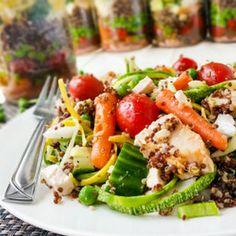 """Zoodles"" & Quinoa Mason Jar Power Salad with Greek Feta Vinaigrette"