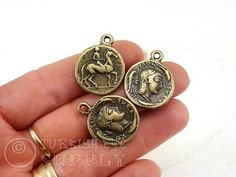Buy Now 2 Pc Ancient Greek Coin Large Coin Antique Bronze Coin... Coin Pendant, Ancient Greek, Buy Now, Coins, Bronze, Personalized Items, Antiques, Stuff To Buy, Antiquities