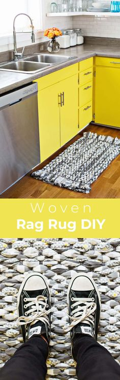 Make Your Own Woven Rag Rug - A Beautiful Mess If you are like me you reside . Make Your Own Woven Rag Rug – A Beautiful Mess If you are like me you reside and breathe fashi Fabric Rug, Fabric Scraps, Crochet Braids For Kids, Diy Tapis, Rag Rug Diy, Dyi Rugs, Homemade Rugs, Homemade Crafts, Rag Rug Tutorial