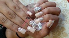 Chic by @victorianailz via @nailartgallery #nailartgallery #nailart #nails #acrylic #trendy #sparkly #swarovskicrystals #blingnails #nudenails