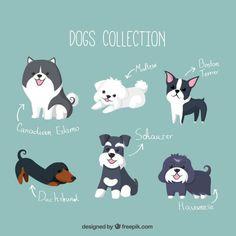 Colección de simpáticos cachorros Vector Gratis