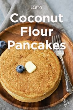 With plenty of healthy fats, this keto coconut flour pancakes recipe will satisfy your breakfast cravings in just 15 minutes. Paleo Pancakes Coconut Flour, No Flour Pancakes, Pancakes Easy, Pumpkin Pancakes, Vegan Pancakes, Buttermilk Pancakes, Diabetic Breakfast Recipes, Low Carb Recipes, Pancake Recipes
