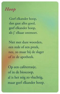 Gedicht 'Hoop' - Toon Hermans