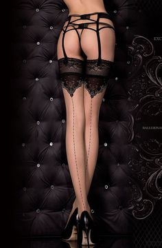 317 Hold Ups - Ballerina £14.99. Sexy nude stockings with silicone hold up bands, with dotted backseam and decorated top section.