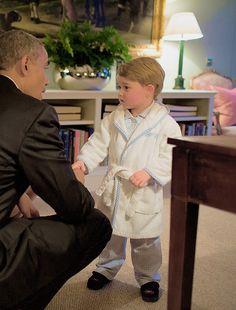 "duchesscambridges: "" ""Prince George meets President Obama on April 22, 2016 at Kensington Palace."" """