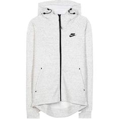 Nike Tech Fleece Cotton-Blend Jacket ($110) ❤ liked on Polyvore featuring jackets, outerwear, tops, active, grey and nike