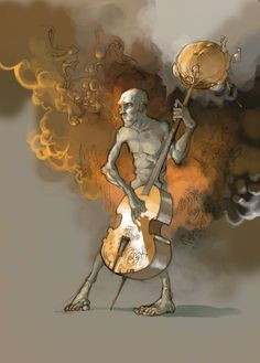 Musician at the entrance of the purgatory