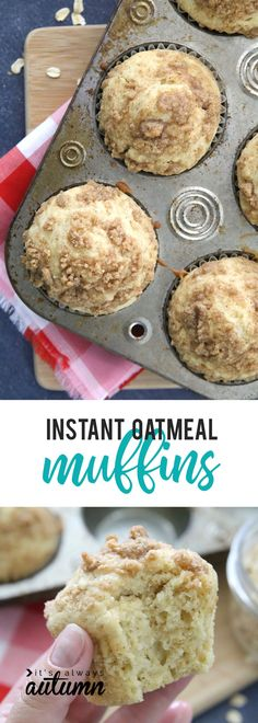 WMF Cutlery And Cookware - One Of The Most Trustworthy Cookware Producers These Instant Oatmeal Muffins Are A Delicious Easy Breakfast. The Oatmeal Gives Them Great Texture And Flavor Quick Breakfast Recipe Idea. Instant Oatmeal Recipes, Quick Oat Recipes, Oats Recipes, Good Healthy Recipes, Dessert Recipes, Desserts, Healthy Food, Healthy Eating, Instant Oatmeal Cookies