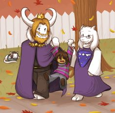 Undertale - takin a walk in fall with the new parents