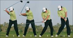 This image shows swing motions of a golf continuously of how to get a good shot, this is shown by a sequential visual images from the start motion to the end.