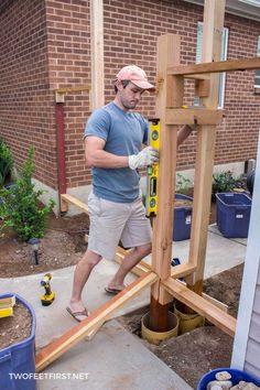 How to install new post for wooden gate. Backyard Gates, Backyard Fences, Backyard Projects, Garden Fences, Wooden Fence Gate, Diy Fence, Fence Ideas, Fence Doors, Wood Fences