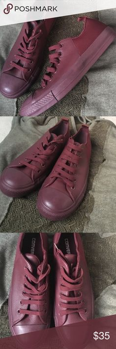 Burgundy Converse NWT New converse still in box (box is a little beat up). All burgandy with a section of satin like material toward the back. Men's 7 women's 9. Ft. my cat. Make an offer because they don't fit me Converse Shoes Sneakers