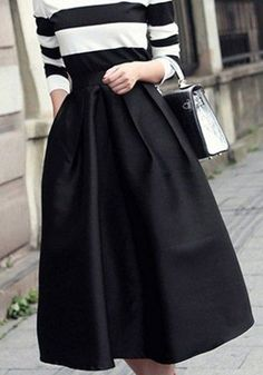 Black Plain Pleated High Waisted Midi Skirt