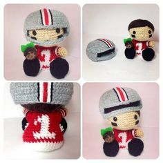 Football Player with Removable Helmet! - CROCHET - A special request, this football player will be in the tiny baby hands of a future football fan very soon! He's an Ohio Buckeye football player a Crochet Patterns Amigurumi, Amigurumi Doll, Crochet Dolls, Crochet Gifts, Cute Crochet, Crochet Baby, Football Crochet, Fabric Yarn, Football Players