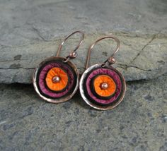 Leather Disc and Copper Earrings - Cinnamon Jewellery Folksy | Craft Juice