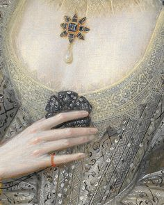 """ Robert Peake the Elder - Portrait of a Woman, Possibly Frances Cotton, Lady Montagu, of Boughton Castle, Northamptonshire (detail). """