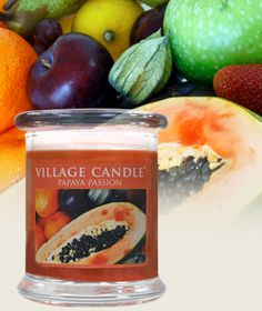 Papaya Passion| New Glass Pillar Collection Scented Candles | Village Candle