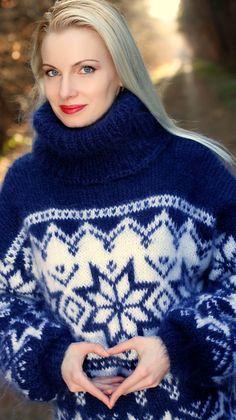 Hand knitted blue mohair sweater Icelandic turtleneck Nordic jumper SUPERTANYA #SuperTanya #TurtleneckMock