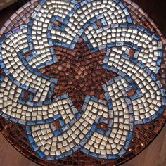 Glass mosaic mandala table, 50 cm table top width, 60 cm height Decorative metal base with tempered glass tabletop Made with love