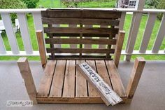a two pallet chair anyone can build in a jiffy, diy, how to, outdoor furniture, painted furniture, pallet, repurposing upcycling, Two pallets 4 legs and two armrest boards ar