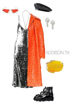 A fashion look from June 2017 featuring off white dress, crossbody shoulder bag and white gold jewelry. Browse and shop related looks. 90s Fashion, Fashion Looks, Womens Fashion, Street Fashion, Hood By Air, Off White Dresses, Professional Attire, Outfit Combinations, Moschino