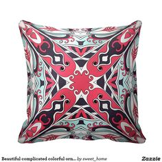 Beautiful complicated colorful ornament. pillow  Moroccan ornament for bedroom make interior unique and add aesthetics sense. Ornament create in oriental tradition. #Home #decor #Room #accessories #Interior #decorating #Idea #Styles #abstract