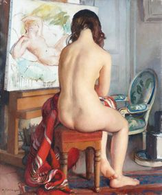 Maurice EHLINGER  The model, a sitting nude at the studio of the artist.  1958