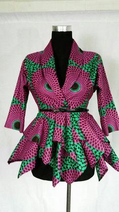 Women African print blazer peplum top African fashion Ankara ruffle blouse us size 0 to 18 African Fashion Ankara, Ghanaian Fashion, African Print Dresses, African Print Fashion, Africa Fashion, African Dress, African Prints, Men's Fashion, African Blouses