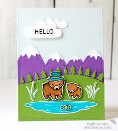 Lawn Fawn - Dad+Me, Stitched Mountain Borders, Forest Border, Spring Showers, Hello Baby _ card by Jean for Fawny Flickr Friday