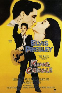 A poster for Michael Curtiz's 1958 crime film 'King Creole' starring Elvis Presley Four Movie, I Movie, Movie Stars, Elvis Presley Movies, Elvis Presley Photos, Rock And Roll, King Creole, Carolyn Jones, Old Movie Posters