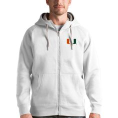 Miami Hurricanes Antigua Victory Full-Zip Hoodie - White