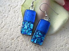 Dichroic Fused Glass Jewelry   Double Blue Ripple  by ccvalenzo, $20.00