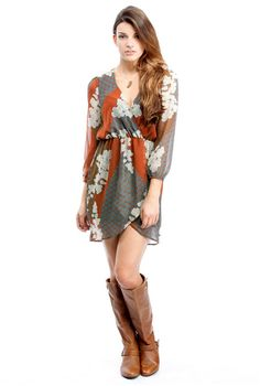 Lace Print Dress.  Love this whole outfit.  With tights for Fall/Winter, or bare legs for Spring.  Sandals for Summer.