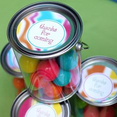 mini paint cans filled with gumball favors (michaels sells these)