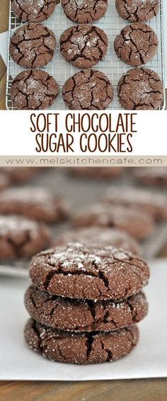 These soft chocolate sugar cookies are rich and really unbelievable. They are the perfect marriage of sugar cookie and chocolate!