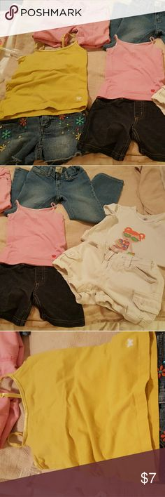 Bundle of 3 girls outfits, &1 pair of jeans/shorts Bundle of 3 girls outfits, &1 pair of jeans/shorts. Yellow tank= PS aeropostale size 6, blue jeans shorts with colorful flowers and rhinestones =size 5 Squeeze,  some rhinestones are no longer on shorts as pictured. Pink tank= aeropostale size 4with plain Jean shorts=size 6 jumping beans white shorts WORN ONCE, = size 6 aeropostale. White short with girl at beach on the front with neon colors = J. Khaki size 5.hot pink cut off Jean shorts, I…
