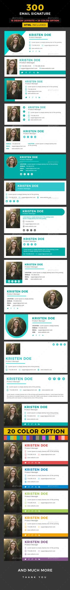 Email Signature: 300 Email Signature, Modern & Professional Email Signatures for your Business and Personal use. Easy to customize Professional Email Signature, Business Professional, Envato Market, Email Signature Templates, Email Signatures, Business Emails, Information Graphics, Signature Design, Text Color