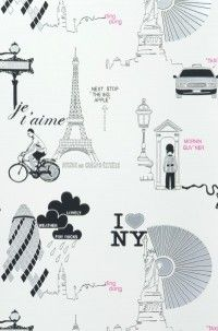 City £38.90 (Euros). Playroom Wallpaper, City Wallpaper, Pattern Wallpaper, Textile Design, Paisajes, Fotografia, Manualidades, Romantic, Wallpaper