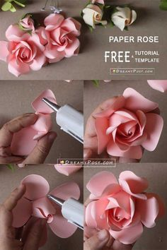 Easy tutorial to make a paper rose, FREE templateYou can find Handmade flowers and more on our website.Easy tutorial to make a paper rose, FREE template Paper Flower Patterns, Paper Flowers Craft, How To Make Paper Flowers, Large Paper Flowers, Paper Flower Wall, Paper Flower Tutorial, Flower Crafts, Diy Flowers, Paper Garlands