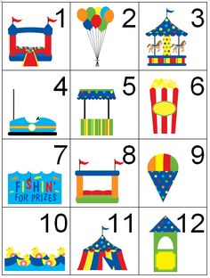 Toddler Activity - Carnival/Circus Theme Calendar/Counting/Countdown Cards