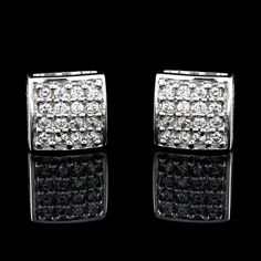 18K White Gold Plated 0.30ct Round VVS Diamond Square Stud Earrings #findingsnjewelry #SquareStud