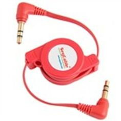 Retractable 3.5mm Stereo Male to Male Extension Auxiliary Cable Mini Plug Patch Cable - Red
