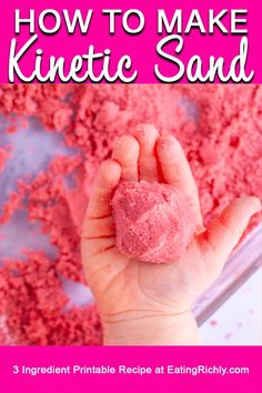 Wondering how to make kinetic sand? This easy homemade kinetic sand recipe uses just 3 ingredients to make a soft moldable sand that provides hours of sensory play time. Sand Crafts, Fun Diy Crafts, Fun Crafts For Kids, Toddler Crafts, Projects For Kids, Diy For Kids, Diy Summer Projects, Sand Art For Kids, Sand Projects