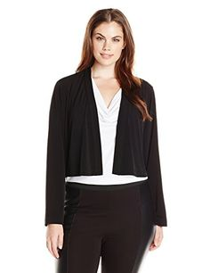 e7daacd77 Calvin Klein Womens PlusSize 34 Sleeve Shrug Black 3X    Details can be  found by