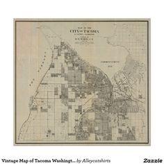 Vintage Map of Tacoma Washington (1907) Poster