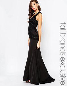 Jarlo Tall Scoop Back Maxi Evening Dress in Black UK 12/EU 40/US 8