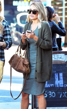 Lauren Conrad wearing Miu Miu Leather Shopping Bag in Cuoio, Karen Walker Super Duper Strength Sunglasses, Sparkle & Fade Ribbed Racerback Tank Dress in Olive and Urban Outfitters BDG Jessica Cardigan Sweater in Green Outfits Spring, Lauren Conrad Style, Urban Outfitters Clothes, Star Fashion, Autumn Winter Fashion, Autumn Style, Her Style, Racerback Tank, Everyday Fashion